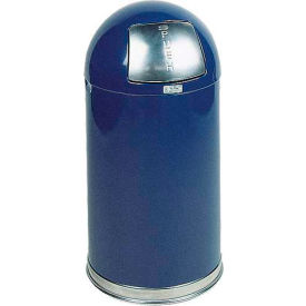 Rubbermaid® R1530EPL 12 Gallon Round Dome Top Waste Receptacle with Plastic Liner - Blue