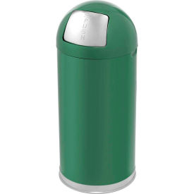 Rubbermaid® R1536EGL 15 Gallon Round Dome Top Waste Receptacle with Galvanized Liner - Green