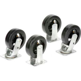 "6"" x 2"" Mold-On Rubber Caster Kit 2 Swivel, 2 Rigid"