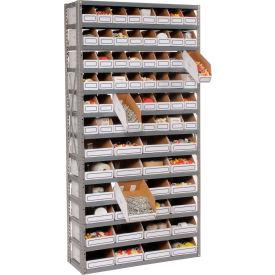 Steel Open Shelving with 72 Corrugated Shelf Bins 13 Shelves - 36x18x73