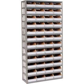 Steel Open Shelving with 48 Corrugated Shelf Bins 13 Shelves  - 36x18x73