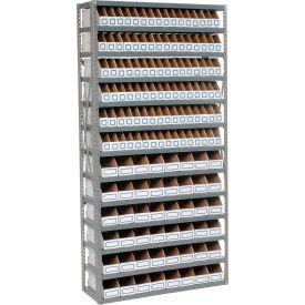 Steel Open Shelving with 48 Corrugated Shelf Bins 7 Shelves  - 36x18x39