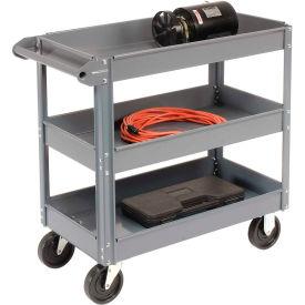 Edsal SC6003 3 Shelf Deep Tray Steel Stock Cart 36x24 800 Lb. Capacity