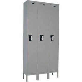 Hallowell UY3228-1 Maintenance-Free Quiet Locker Single Tier 12x12x72 3 Door Ready To Assemble Gray- Pkg Qty 1