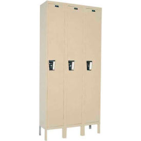 Hallowell UY3228-1 Maintenance-Free Quiet Locker Single 12x12x72 - 3 Door Ready To Assemble - Tan
