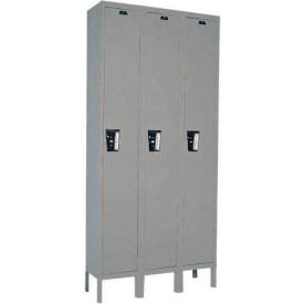 Hallowell UY3588-1 Maintenance-Free Quiet Locker Single Tier 15x18x72 3 Door Ready To Assemble Gray