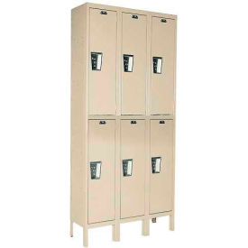 Hallowell UY3258-2 Maintenance-Free Quiet Locker Double 12x15x36 - 6 Door Ready To Assemble - Tan
