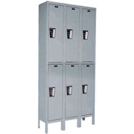 Hallowell UY3588-2 Maintenance-Free Quiet Locker Double Tier 15x18x36 6 Door Ready To Assemble Gray