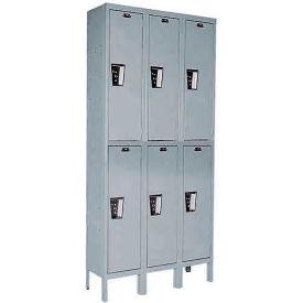 Hallowell UY3888-2 Maintenance-Free Quiet Locker Double Tier 18x18x36 6 Door Ready To Assemble Gray- Pkg Qty 1