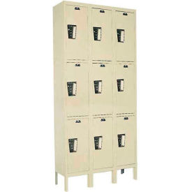 Hallowell UY3228-3 Maintenance-Free Quiet Locker Triple 12x12x24 9 Door Ready To Assemble Parchment- Pkg Qty 1