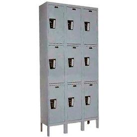 Hallowell UY3258-3 Maintenance-Free Quiet Locker Triple Tier 12x15x24 9 Door Ready To Assemble Gray- Pkg Qty 1