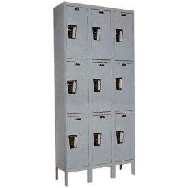 Hallowell UY3288-3 Maintenance-Free Quiet Locker Triple Tier 12x18x24 9 Door Ready To Assemble Gray- Pkg Qty 1