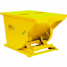 Wright 15099 1.5 Cu Yd Yellow HD Self Dumping Forklift Hopper with Heavy Gauge Base