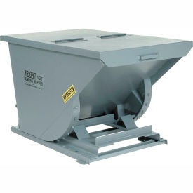 Wright 30099 3 Cu Yd Gray HD Self Dumping Forklift Hopper with Heavy Gauge Base