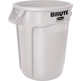 Rubbermaid Brute® 1779740 Trash Container w/Venting Channels, 44 Gallon - White