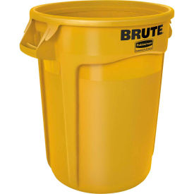 Rubbermaid Brute® FG264360YEL Trash Container w/Venting Channels, 44 Gallon - Yellow- Pkg Qty 1
