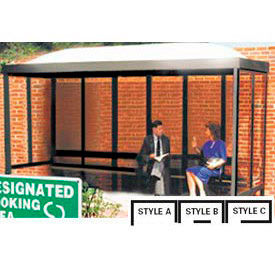 Smoking Shelter Dome Roof Four Sided With Left Front Opening 7'6 x 5'
