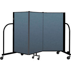 "Screenflex Portable Room Divider 3 Panel, 4'H x 5'9""L, Fabric Color: Blue"