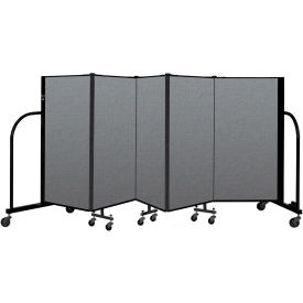 "Screenflex Portable Room Divider 5 Panel, 4'H x 9'5""L, Fabric Color: Gray"