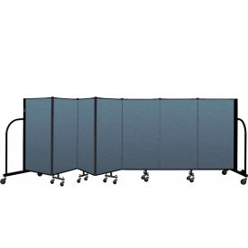 "Screenflex Portable Room Divider 7 Panel, 4'H x 13'1""L, Fabric Color: Blue"