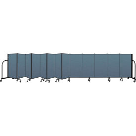 "Screenflex Portable Room Divider 13 Panel, 4'H x 24'1""L, Fabric Color: Blue"