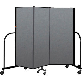 "Screenflex Portable Room Divider 3 Panel, 5'H x 5'9""L, Fabric Color: Gray"
