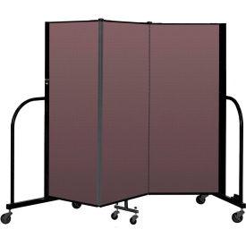 """Screenflex Portable Room Divider 3 Panel, 5'H x 5'9""""L, Fabric Color: Mauve"""