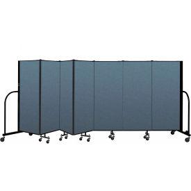 "Screenflex Portable Room Divider 7 Panel , 5'H x 13'1""L, Fabric Color: Blue"