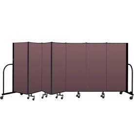 """Screenflex Portable Room Divider 7 Panel, 5'H x 13'1""""L, Fabric Color: Mauve"""