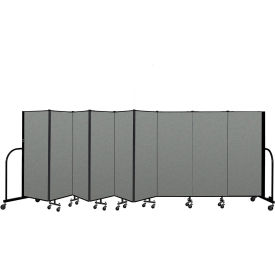 "Screenflex Portable Room Divider 9 Panel, 5'H x 16'9""L, Fabric Color: Gray"