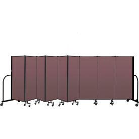 "Screenflex Portable Room Divider 9 Panel, 5'H x 16'9""L, Fabric Color: Mauve"