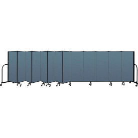 "Screenflex Portable Room Divider 13 Panel, 5'H x 24'1""L, Fabric Color: Blue"
