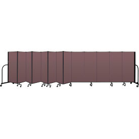 "Screenflex Portable Room Divider 13 Panel, 5'H x 24'1""L, Fabric Color: Mauve"