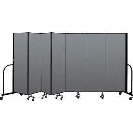 "Screenflex Portable Room Divider 7 Panel, 6'H x 13'1""L, Fabric Color: Gray"