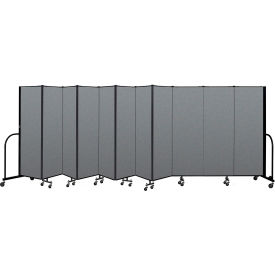 "Screenflex Portable Room Divider 11 Panel, 6'H x 20'5""L, Fabric Color: Gray"