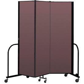 """Screenflex Portable Room Divider 3 Panel, 6'8""""H x 5'9""""L, Fabric Color: Mauve"""