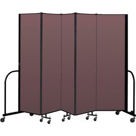 "Screenflex Portable Room Divider 5 Panel, 6'8""H x 9'5""L, Fabric Color: Mauve"