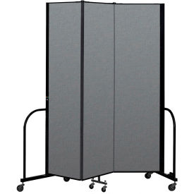 "Screenflex Portable Room Divider 3 Panel, 7'4""H x 5'9""L, Fabric Color: Gray"