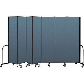 "Screenflex Portable Room Divider 7 Panel, 7'4""H x 13'1""L, Fabric Color: Blue"