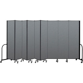 "Screenflex Portable Room Divider 9 Panel, 7'4""H x 16'9""L, Fabric Color: Gray"