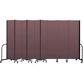 """Screenflex Portable Room Divider 9 Panel, 7'4""""H x 16'9""""L, Fabric Color: Mauve"""