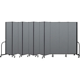 "Screenflex Portable Room Divider 11 Panel, 7'4""H x 20'5""L, Fabric Color: Gray"