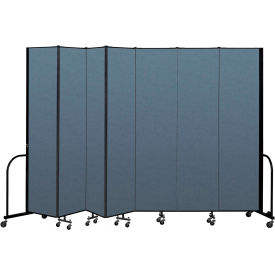 "Screenflex Portable Room Divider 7 Panel, 8'H x 13'1""L, Fabric Color: Blue"