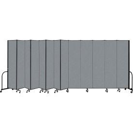 "Screenflex Portable salle 13 panneau d'intercalaire, 8' H x 24'1 ""L, tissu couleur: gris"
