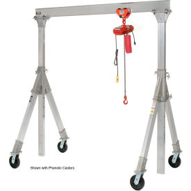 Vestil Aluminum Gantry Crane AHA-15-8-10-PNU Adj. Ht. Pneumatic Casters 1500 Lb.