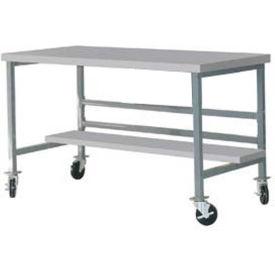 "Mobile 60"" X 30"" Plastic Top Workbench - Gray"