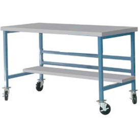 """Mobile 72"""" X 36"""" Plastic Top Workbench - Blue"""