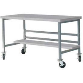"Mobile 72"" X 36"" Plastic Top Workbench - Gray"