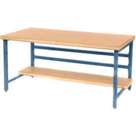 "Stationary 60"" X 30"" Shop Top Square Edge Workbench - Blue"