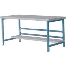 "Stationary 72"" X 30"" Plastic Laminate Square Edge Workbench  - Blue"